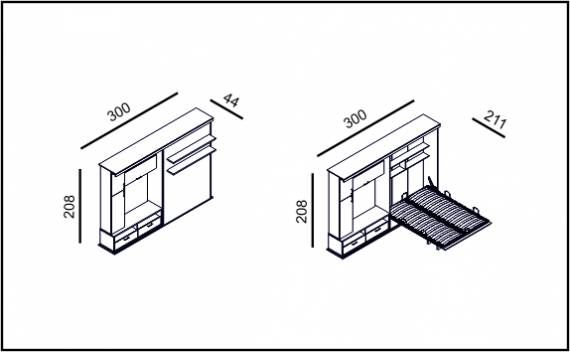 Double Saloon - Technical drawing