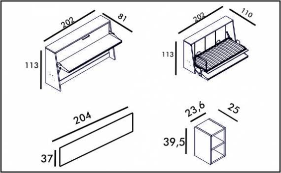 Table Bed - Technical drawing